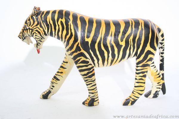 Artesania De Africa Tallas Madera Y Piedra Figura Madera Tigre